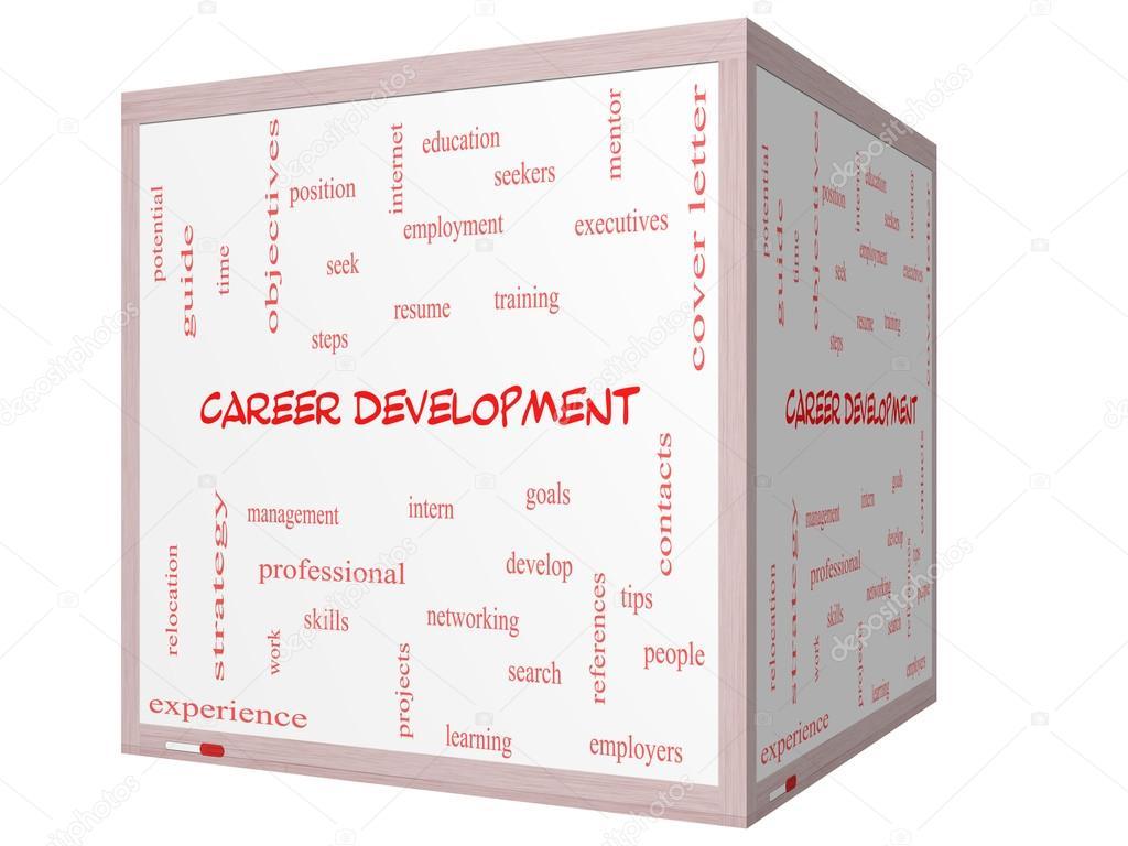 concepto de nube carrera desarrollo palabra en un 3d cubo whiteboard ...