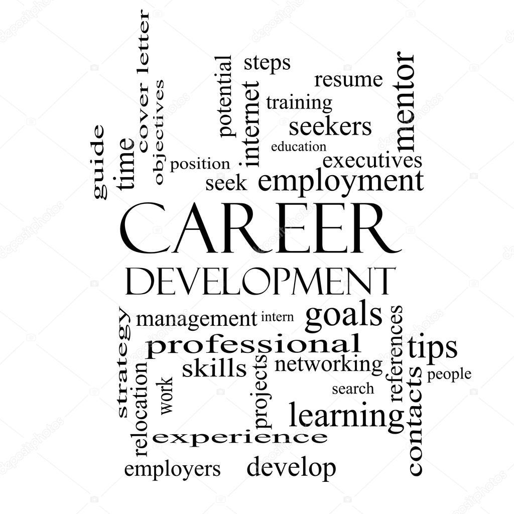 Karriere Entwicklungskonzept Wort Wolke in schwarz und weiß ...