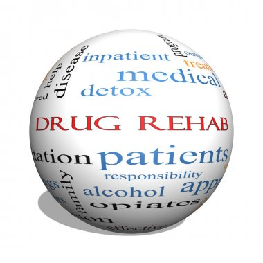 Drug Rehab 3D sphere Word Cloud Concept