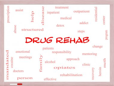 Drug Rehab Word Cloud Concept on a Whiteboard