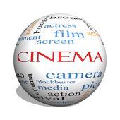 Cinema 3d koule slovo mrak koncepce