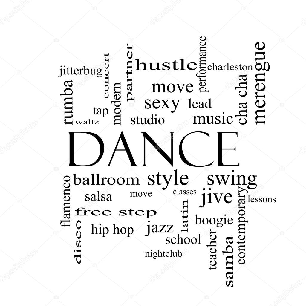 dance word cloud concept in black and white stock photo