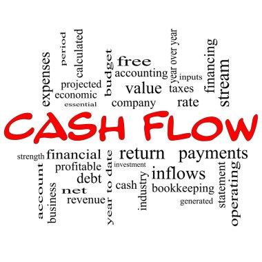 Cash Flow Word Cloud Concept in red caps