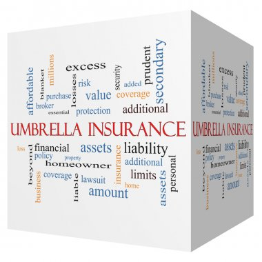 Umbrella Insurance 3D cube Word Cloud Concept