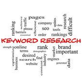 Photo Keyword Research Word Cloud Concept in red caps