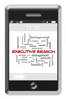 Executive Search Word Cloud Concept on Touchscreen Phone