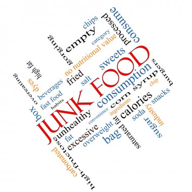Junk Food Word Cloud Concept Angled