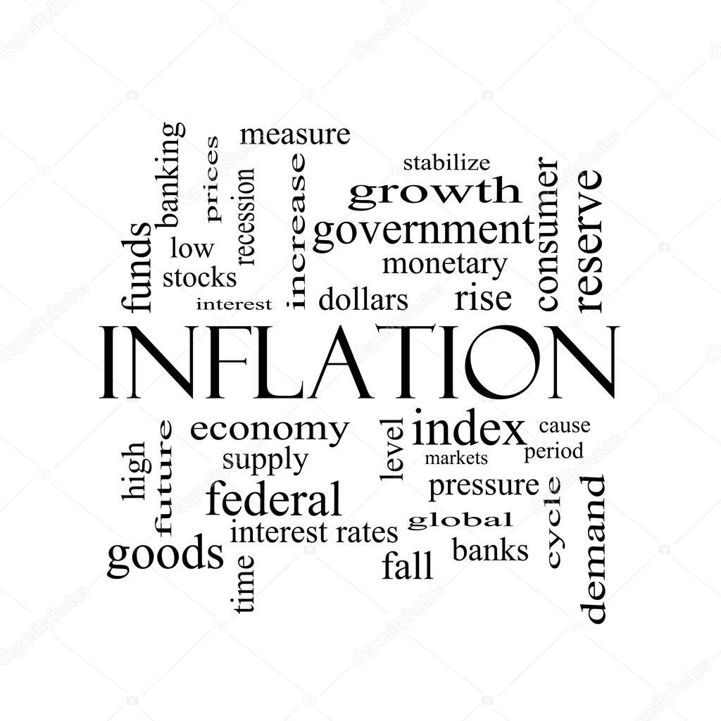 Concept De Nuage De Mot Inflation En Noir Et Blanc Photographie