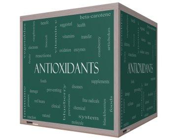 Antioxidants Word Cloud Concept on a 3D cube Blackboard