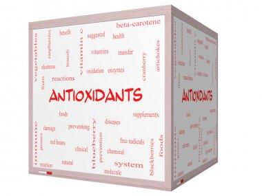 Antioxidants Word Cloud Concept on a 3D cube Whiteboard