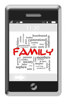 Family Word Cloud Concept on Touchscreen Phone