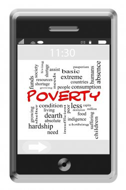 Poverty Word Cloud Concept on Touchscreen Phone