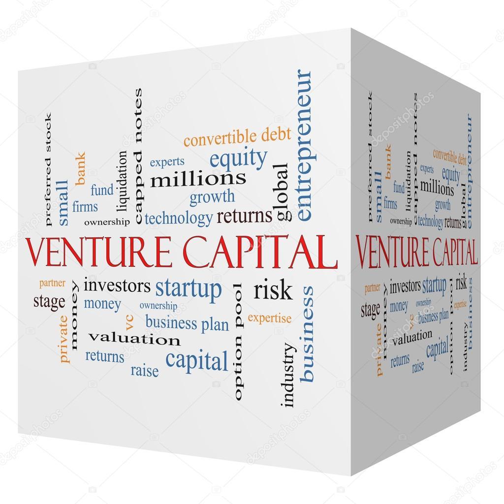Venture Capital 3D cube Word Cloud Concept