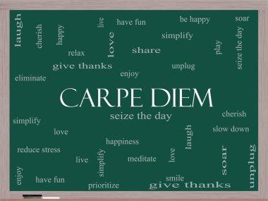 Carpe Diem Word Cloud Concept on a Blackboard