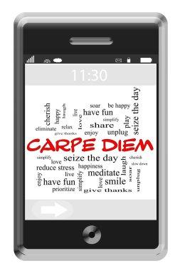 Carpe Diem Word Cloud Concept on Touchscreen Phone