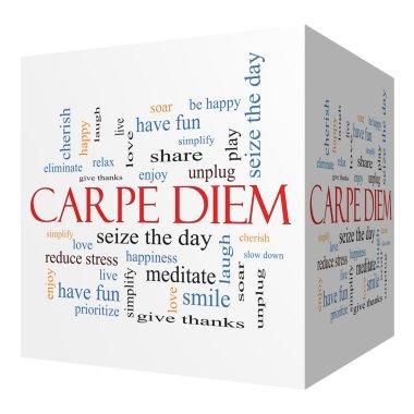 Carpe Diem 3D cube Word Cloud Concept