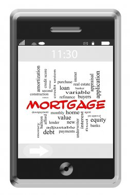 Mortgage Word Cloud Concept on Touchscreen Phone