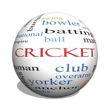 Cricket 3D sphere Word Cloud Concept