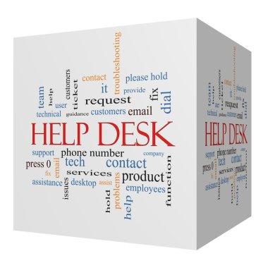 Help Desk 3D cube Word Cloud Concept