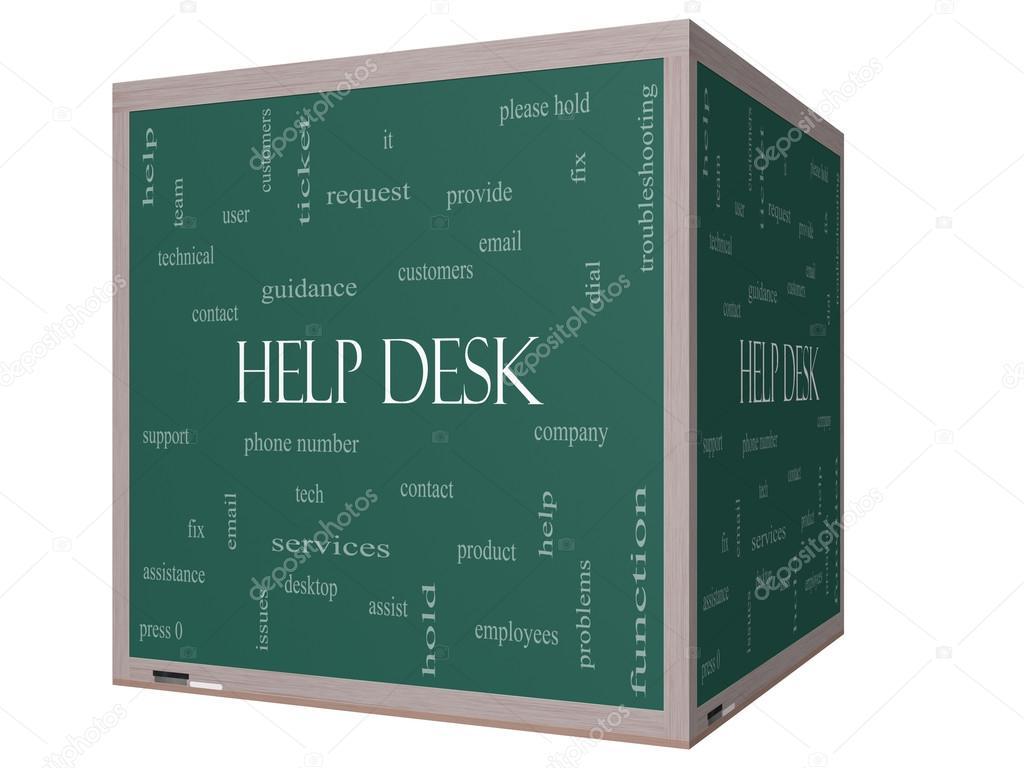 Help Desk Word Cloud Concept On A 3D Cube Blackboard U2014 Stock Photo