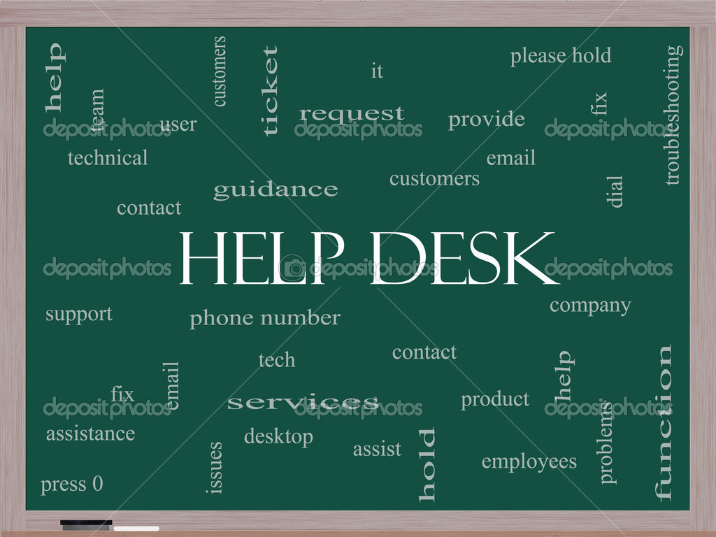help desk word cloud concept on a blackboard — stock photo