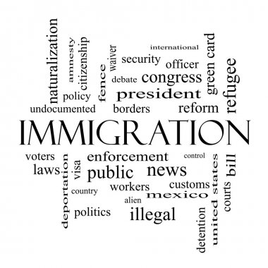 Immigration Word Cloud Concept in black and white