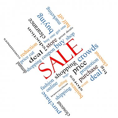 Sale Word Cloud Concept Angled