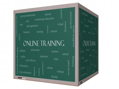 Online Training Word Cloud Concept on a 3D cube Blackboard