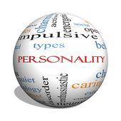 osobnost 3d koule slovo mrak koncepce s velkou termíny jako veselý, charakter, chování a další.