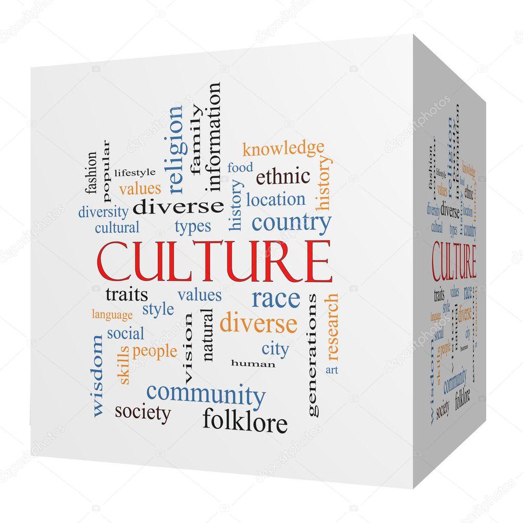 Culture 3D cube Word Cloud Concept