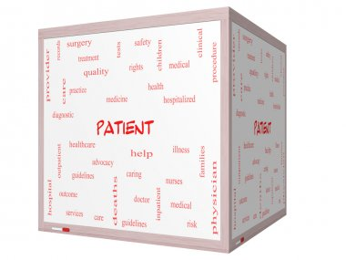 Patient Word Cloud Concept on a 3D cube Whiteboard