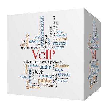 VOIP 3D cube Word Cloud Concept