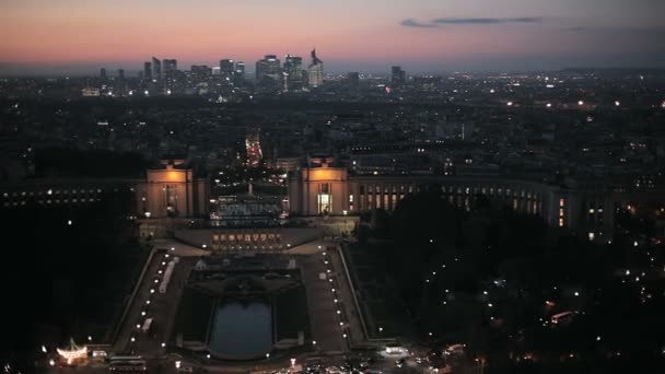 Panoramic evening view over Paris from the Eiffel tower