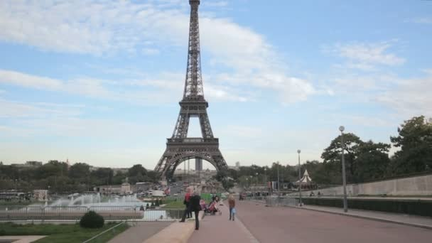 View of the Eiffel Tower from the main square Trocadero in Paris