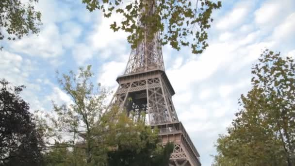 Eiffel tower on background of blue sky in Paris, France