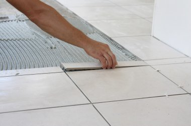 laying small cut tile