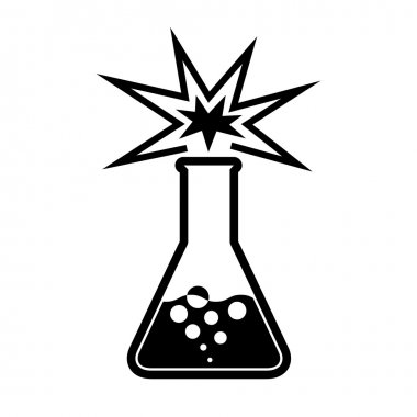Experiment in beaker. chemical background.
