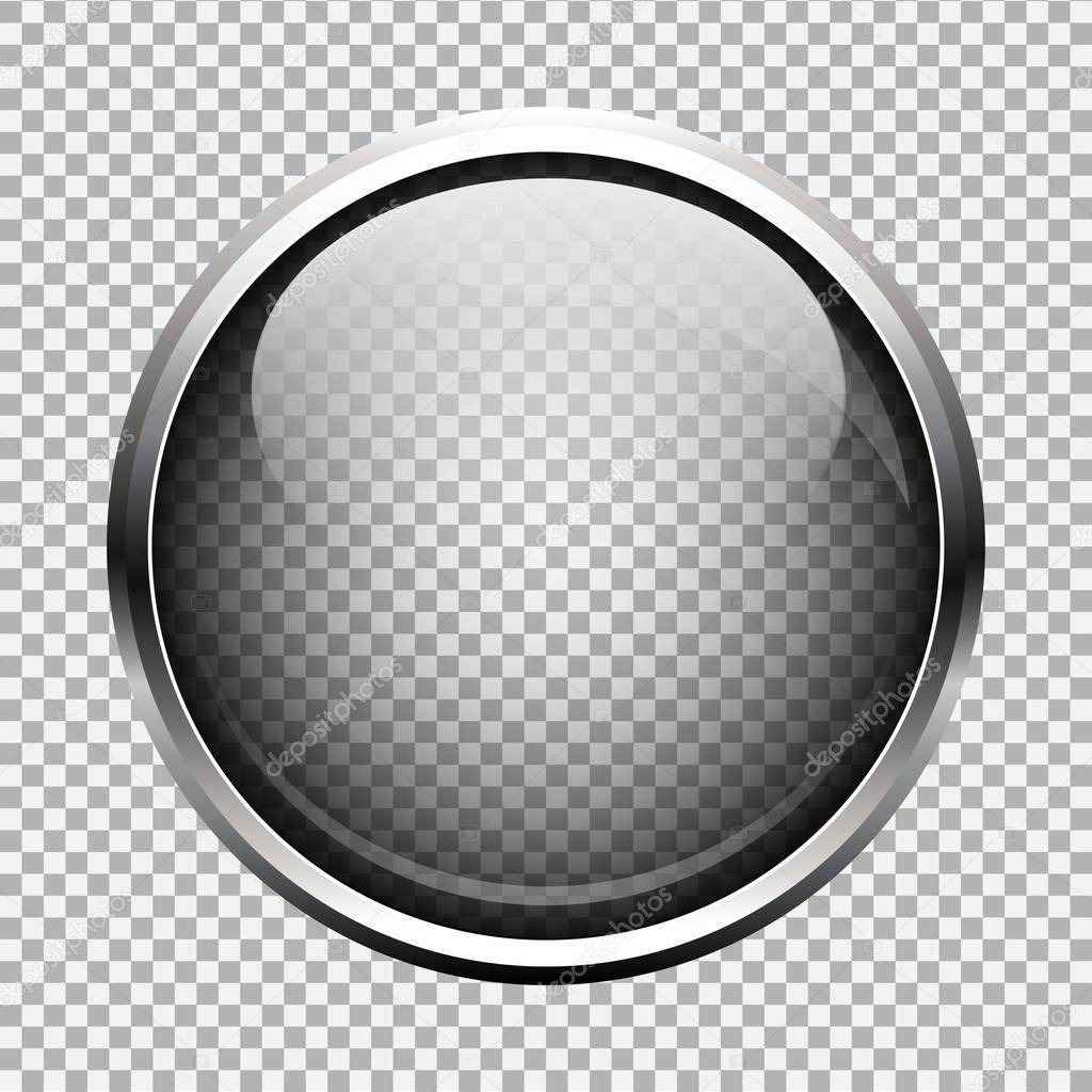 Transparent glass button