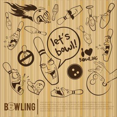 Cartoon bowling set, bowling alley