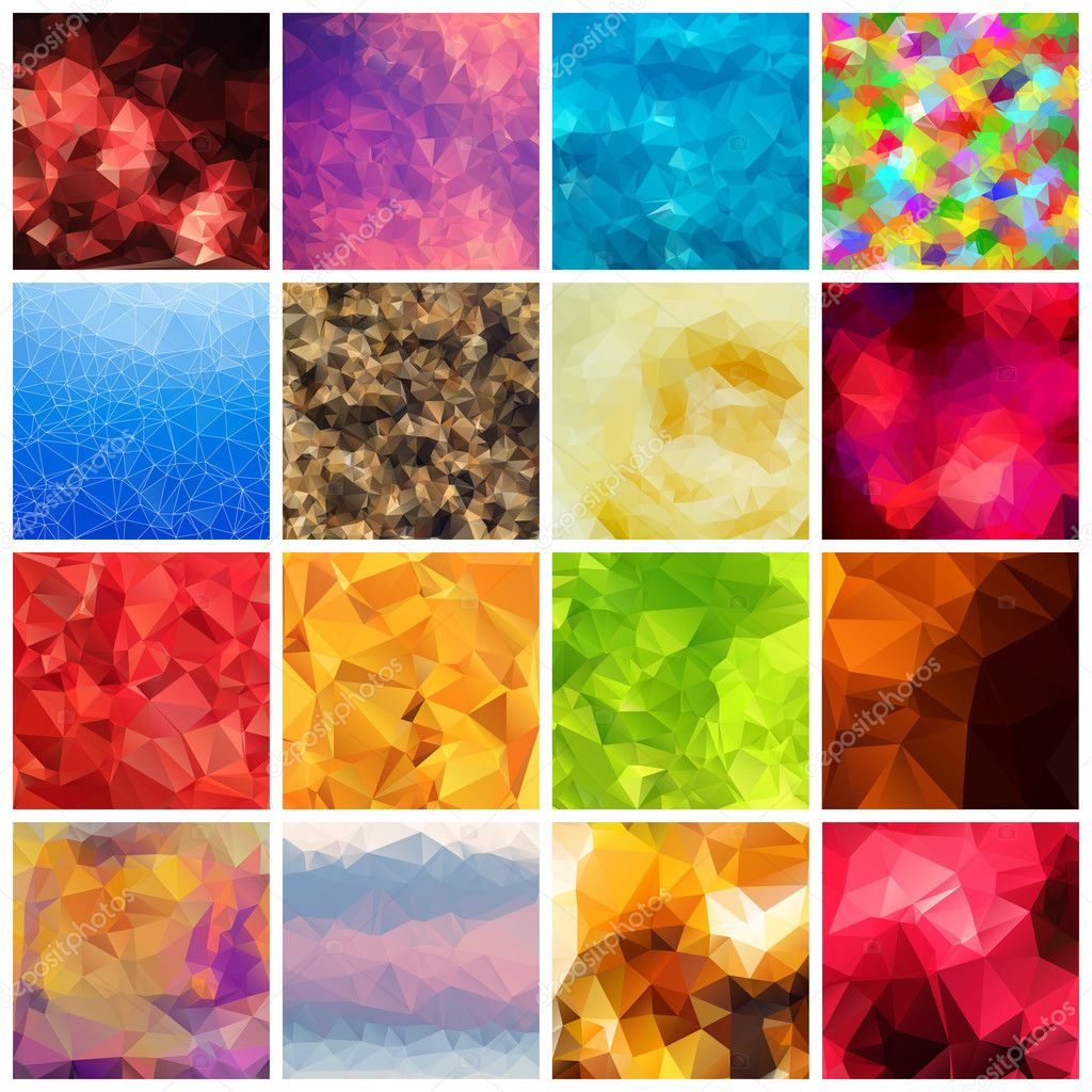 Set of multicolored geometric polygonal backgrounds