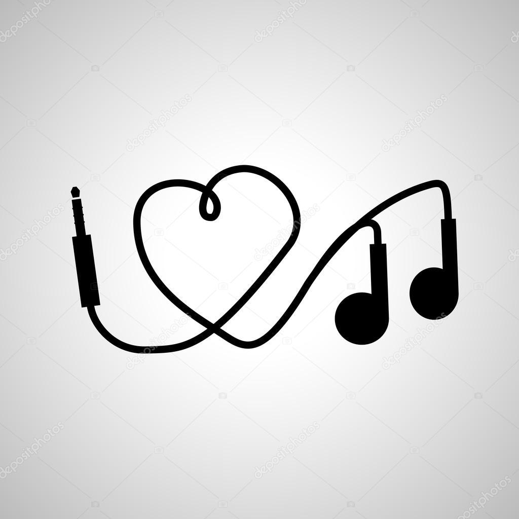 музыка наушники я люблю музыку наушники векторное изображение