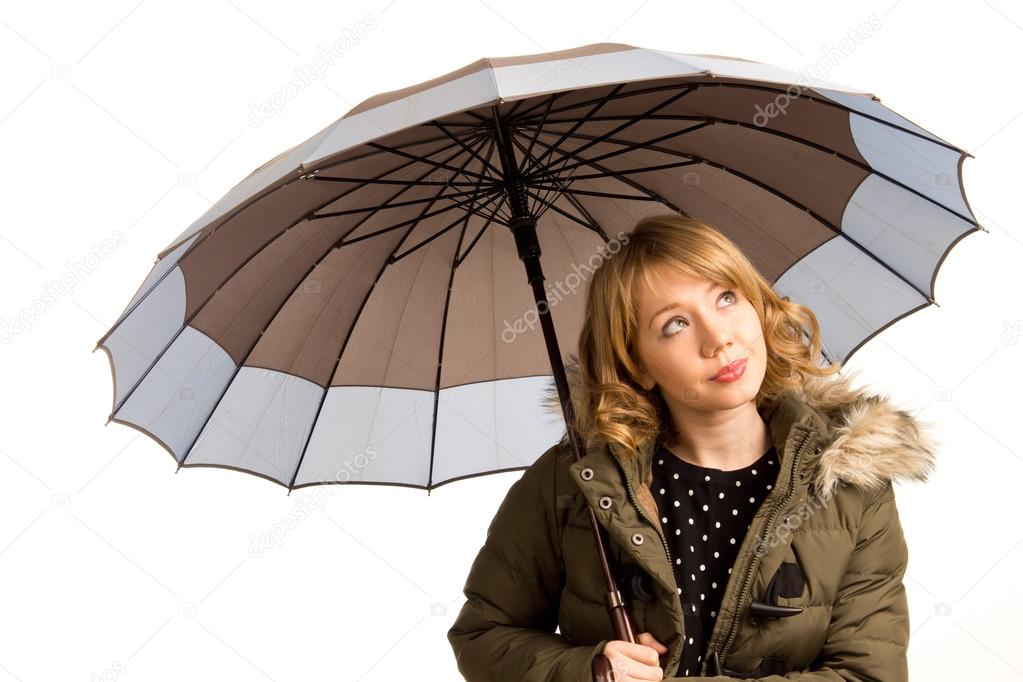 Attractive young woman with an umbrella