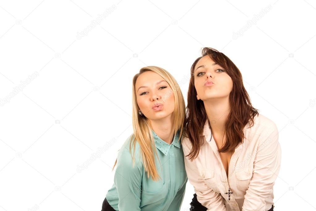Mischievous young girls looking for a kiss