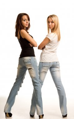 Sexy young women in tight fitting jeans