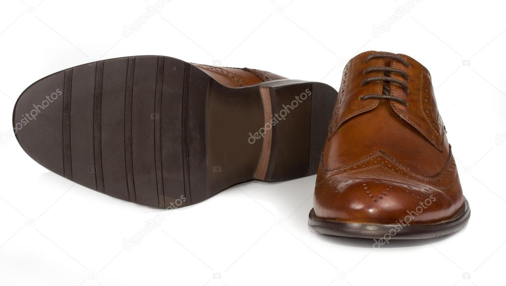 Elegant classic mens brown leather shoes — Stock Photo