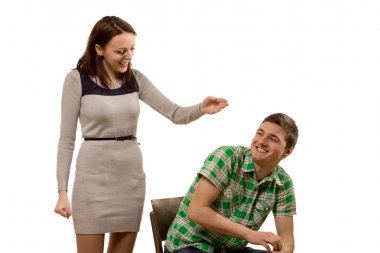 Laughing playful attractive young couple