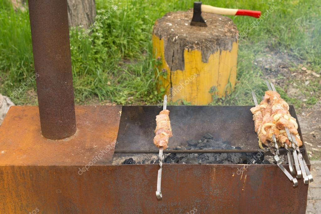 Chicken kebabs ready to place on the hot barbecue