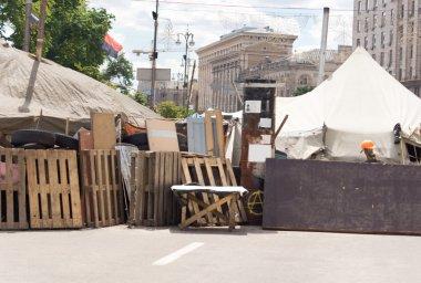 Barricade across a town street for a fair or race