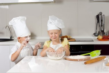 Cute Kid Chefs Baking While Playing
