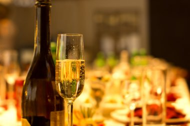 Flute of chilled sparkling champagne
